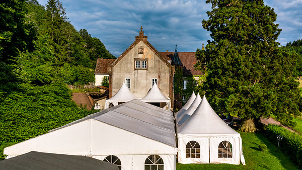Mediaval castle exterior aerial view