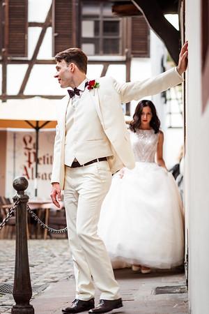 Irina, Christian, 20.09.2020, wedding, Mercedes, green, church, Strasbourg, city, center,