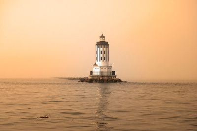 Angels Gate lighthouse in the fog