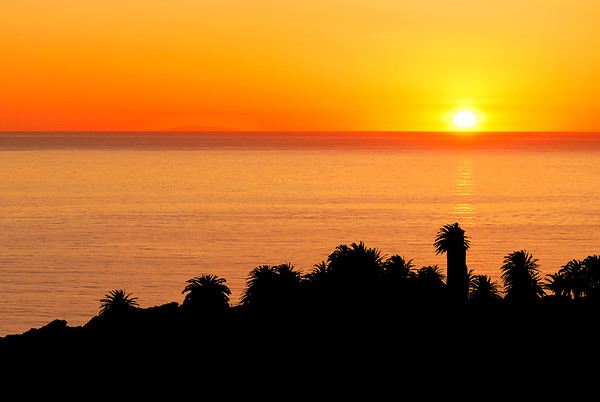 Sunset with Pt. Vicente lighthouse, March 4, 2012