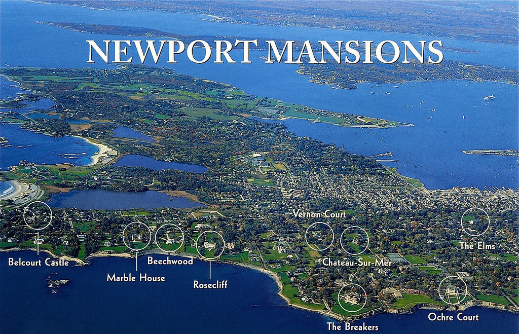 Aerial Map of the Newport Mansions