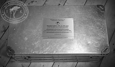 The donated research material was handed over in a secure AluBox used in The IK Foundation's many different fieldwork around the world. The box has been crowned with a sign briefly describing the donation. The donation will be stored in the box at Kivik's museum, Sweden.