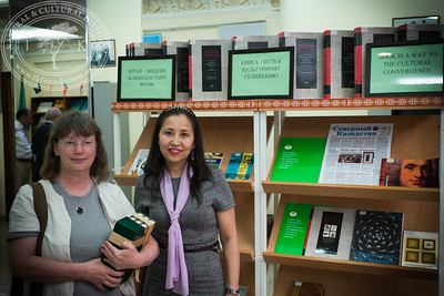 """Small exhibition including Linnaeus' related books and Swedish literature in The National Academic Library of Kazakhstan as part of the seminar """"The Linnaeus Apostles Bridge Builder Expeditions - Sweden, Kazakhstan, Kyrgyzstan & Russia. Including Launch of The Explorer's Field Guide""""."""