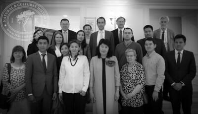 "Participants from top/left: Mr. Nourlan Mamyrov [Honorary Consulate of Sweden in the Kyrgyz Republic], Mrs. Nadia Voinova [Spouse of Ambassador in Astana], Mr. Christian Kamill [Ambassador of Sweden in Astana], Mr. Alexey Koropchenko [Counsellor, Embassy of Russian Federation], Mr. Lars Bergman [Swedish Culture Abroad], Ms. Anna Orischenko [Oriflame Kazakhstan and Central Asia], Ms. Irina Shubina [Library of KazGUU university], Ms. Tolkin Abildaeva [National Academic Library], Mr. Sobisevich Alexey Vladimirovich [Russian Academy of Sciences], Mr. Mambetalinov Rakat Mazhikenovich [Institution ""Management of culture, archives and documentation of the akimat of the North Kazakhstan region""], Mrs. Viveka Hansen [The IK Foundation], Mr. Madi Akylbekov [National Museum of the Republic of Kazakhstan], Ms. Beibit Shangirbayeva [EU Delegation to the Republic of Kazakhstan], Ms. Ainur Nogayeva [ENU], Mrs. Bakashova Jyldyz Kemelovna [National Library of the Kyrgyz Republic], Ms. Aleksandrovskaya Olga Andreevna [Russian Academy of Sciences], Mr. Sergazy Akhmetkul [Swedish Alumni] and Mr. Ruslan Urazalinov [Embassy of Sweden]. NOT IN THE PICTURE: Mr. Gabriel Hjort [Embassy of Sweden in Astana], Mr. Lars Hansen [The IK Foundation], Mr. Bo Ralph [Swedish Academy], Mr. Bengt Eriksson [Interpreter], Mrs. Mukusheva Gulnara Butanovna [North-Kazakhstan Museum of History and Local Lore], Ms. Orynbaeva Gulmira Usenbaevna [Central State Museum of the Republic of Kazakhstan], Ms. Kunikei Sakhieva [National Museum of the Republic of Kazakhstan], Mrs. Umutkan Munalbaeva [National Academic Library of RoK], Mr. Bikenev Rustam Tolegenovich [National Center for Manuscripts and Rare Books], Ms. Renata Faizova [KAZGUU University], Ms. Olga Kurdyukova [Interpreter] and Ms. Gulmira Abidkhozhaeva [Embassy of Sweden in Astana]."