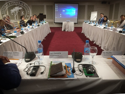 """Seminar room at Grand Park Esil Hotel in Astana. """"The Linnaeus Apostles Bridge Builder Expeditions - Sweden, Kazakhstan, Kyrgyzstan & Russia. Including Launch of The Explorer's Field Guide""""."""