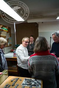 Book binder Kim Larsen demostrates the skill of the trade, 2.3.2017.