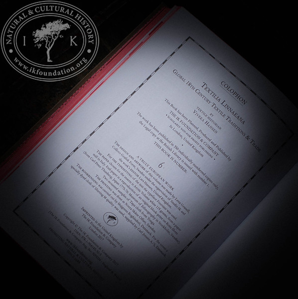 TEXTILIA LINNAEANA     The Book  [  Colophon