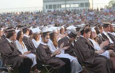 Perkiomen Valley High School celebrates their 2015 Graduation in their outdoor stadium. Friday, June 12, 2015. Adrianna Hoff—The Times Herald.