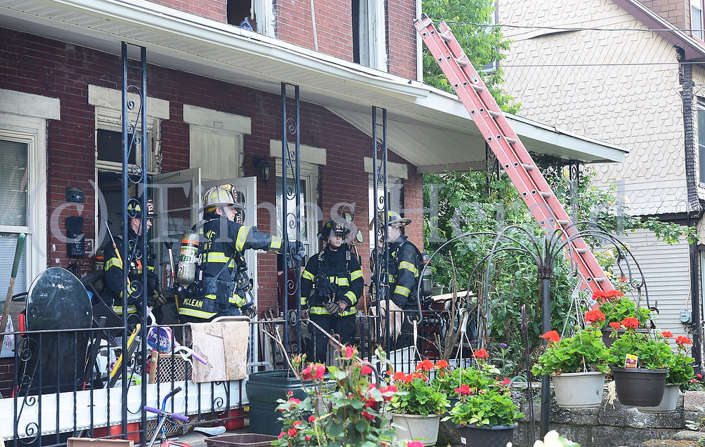. Fire fighters are called to the report of a fire on the 100th block of E 8th Street in Conshohocken.  Friday, May 30, 2014.  Photo by Adrianna Hoff/Times Herald Staff.