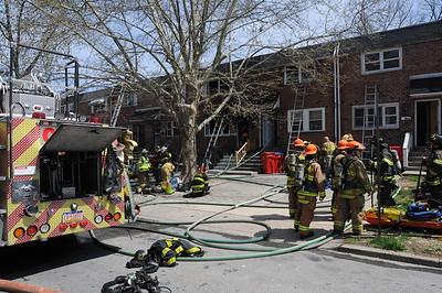 Fire fighters battle fire on Kohn Street in Norristown