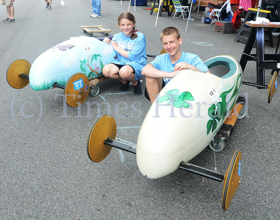 . Sister and Brother, Erin and Liam Donovan compete in the 63rd Annual Conshohocken Soapbox Derby.  Friday, July 4, 2014.  Photo by Adrianna Hoff/Times Herald Staff.