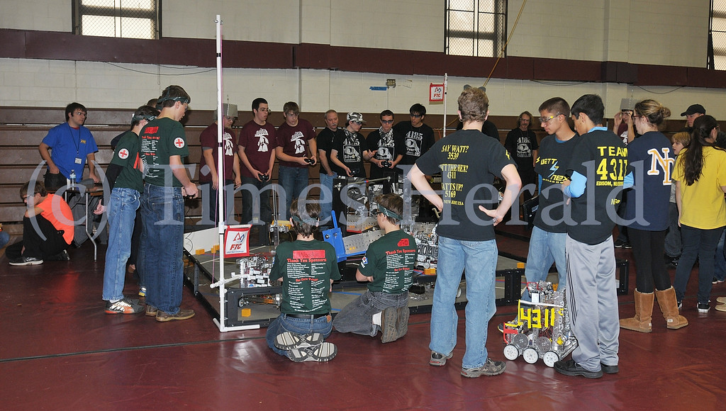 . Teams competed against one another in the FIRST® Robotics Eastern Regional Qualifier at the Physical Education Building of Montgomery County Community College.  Saturday, December 7, 2013.  Photo by Adrianna Hoff/Times Herald Staff.