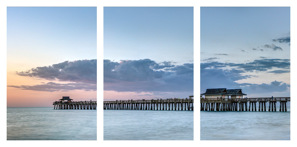 A new addition to my Florida album -  Naples Pier Panorama , shown here as a triptych. All my panoramic photos are now available to order as triptychs.