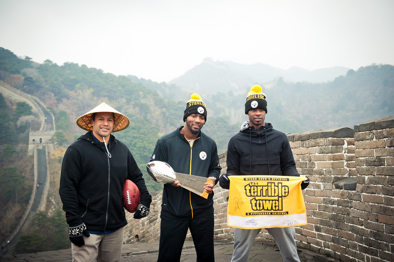 November 18, 2015 - NFL China Pittsburgh Steelers Super Bowl XLIII Champions Tour. Troy Polamalu, Ryan Clark and Ike Taylor on the Great Wall of China.