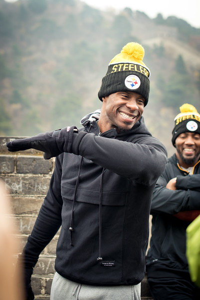 November 18, 2015 - NFL China Pittsburgh Steelers Super Bowl XLIII Champions Tour. Ike Taylor DABBING on the Great Wall of China.