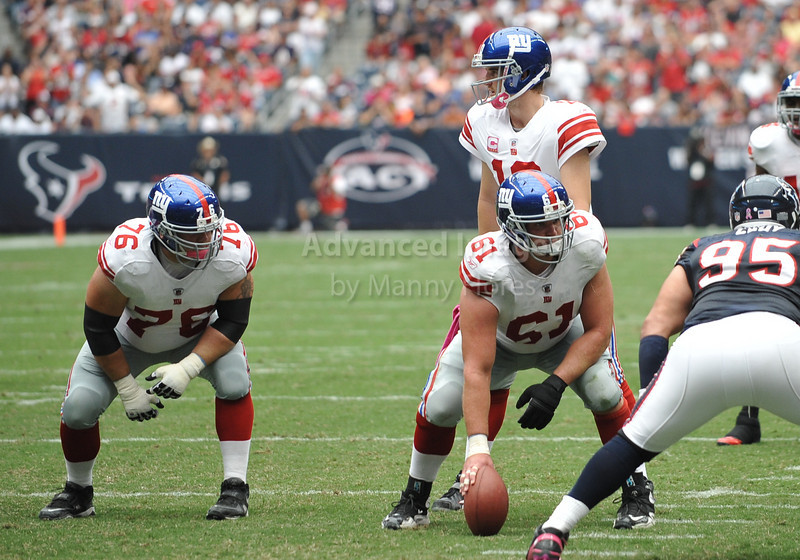Oct 10 2010:  <br /> New York Giants guard Chris Snee #76 and New York Giants offensive tackle Adam Koets #61 get ready on offense in a game between New York Giants and the Houston Texans at Reliant Stadium in Houston, Texas.<br /> New York Giants win 34-10.<br /> (Credit Image: © Manny Flores/Cal Sport Media)