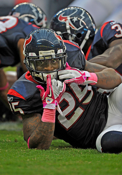 10 Oct 2010:  <br /> Houston Texans defensive back Kareem Jackson #25 checks his gear<br /> in a game between the New York Giants and the Houston Texans at Reliant Stadium in Houston Texas.<br /> Giants win 34-10