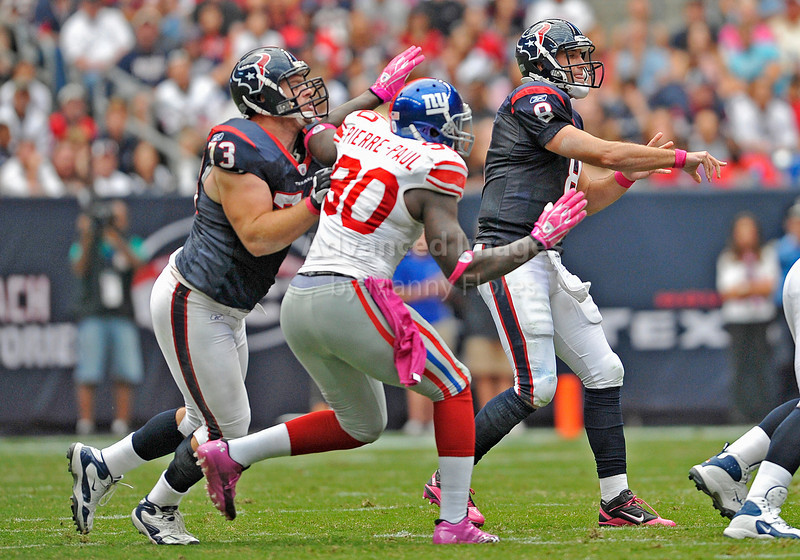 Oct 10 2010:  <br /> Houston Texans quarterback Matt Schaub #8 in action as Houston Texans offensive tackle Eric Winston #73 blocks for him<br /> in a game between New York Giants and the Houston Texans at Reliant Stadium in Houston, Texas.<br /> New York Giants win 34-10.<br /> (Credit Image: © Manny Flores/Cal Sport Media)