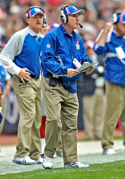 10 Oct 2010:  <br /> New York Giants Tom Coughlin in action<br /> in a game between the New York Giants and the Houston Texans at Reliant Stadium in Houston Texas.<br /> Giants win 34-10