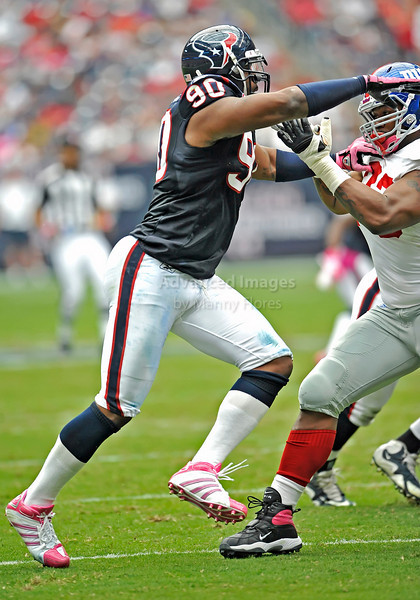 10 Oct 2010:  <br /> Houston Texans defensive end Mario Williams #90 in action<br /> in a game between the New York Giants and the Houston Texans at Reliant Stadium in Houston Texas.