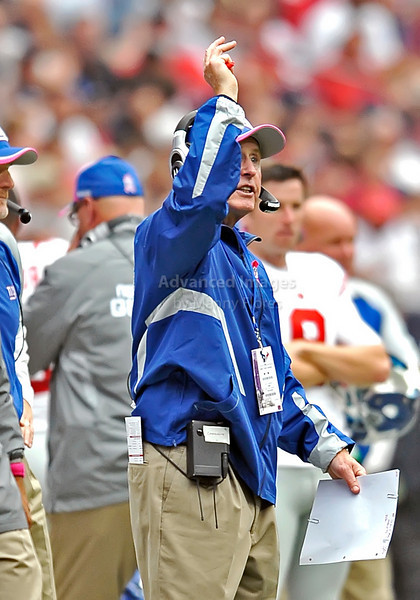 Oct 10 2010:  <br /> New York Giants Head Coach - Tom Coughlin in action<br /> in a game between New York Giants and the Houston Texans at Reliant Stadium in Houston, Texas.<br /> New York Giants win 34-10.<br /> (Credit Image: © Manny Flores/Cal Sport Media)
