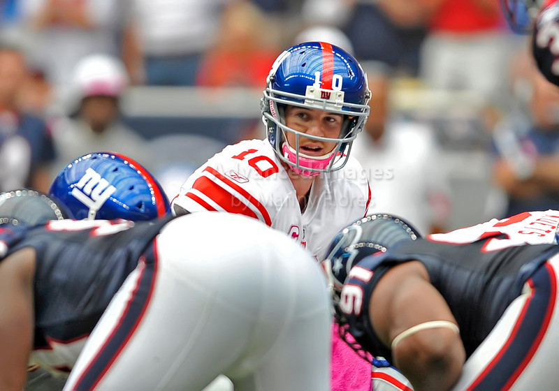 Oct 10 2010:  <br /> New York Giants quarterback Eli Manning #10 looks down field<br /> in a game between New York Giants and the Houston Texans at Reliant Stadium in Houston, Texas.<br /> New York Giants win 34-10.<br /> (Credit Image: © Manny Flores/Cal Sport Media)