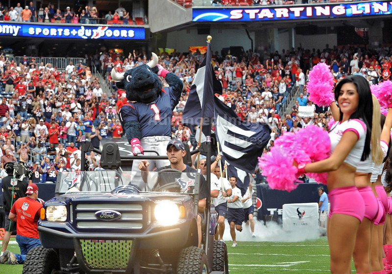 Oct 10 2010:  <br /> Houston Texans Mascot leads the team introduction<br /> in a game between New York Giants and the Houston Texans at Reliant Stadium in Houston, Texas.<br /> New York Giants win 34-10.<br /> (Credit Image: © Manny Flores/Cal Sport Media)