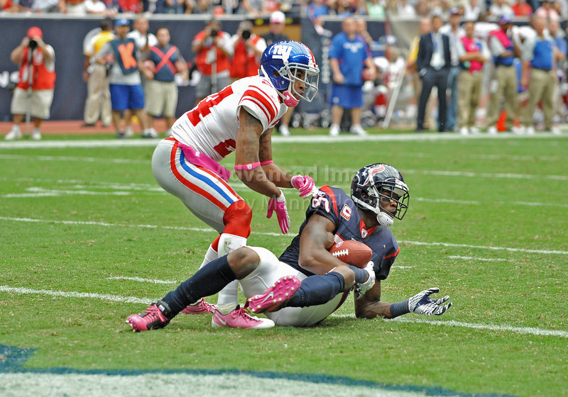 10 Oct 2010:  <br /> Houston Texans wide receiver Andre Johnson #80 dives in the endzone for a touchdown as New York Giants cornerback Terrell Thomas #24 defends in a game between the New York Giants and the Houston Texans at Reliant Stadium in Houston Texas.<br /> Giants win 34-10