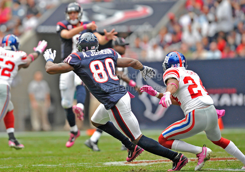 Oct 10 2010:  <br /> Houston Texans wide receiver Andre Johnson #80 looks for the ball<br /> in a game between New York Giants and the Houston Texans at Reliant Stadium in Houston, Texas.<br /> New York Giants win 34-10.<br /> (Credit Image: © Manny Flores/Cal Sport Media)
