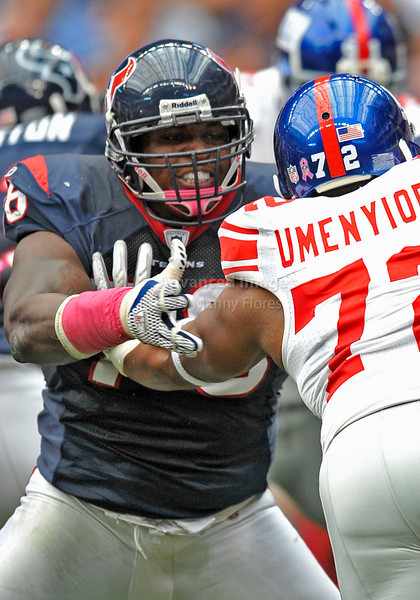 Oct 10 2010:  <br /> Houston Texans offensive tackle Duane Brown #76 blocks<br /> in a game between New York Giants and the Houston Texans at Reliant Stadium in Houston, Texas.<br /> New York Giants win 34-10.<br /> (Credit Image: © Manny Flores/Cal Sport Media)