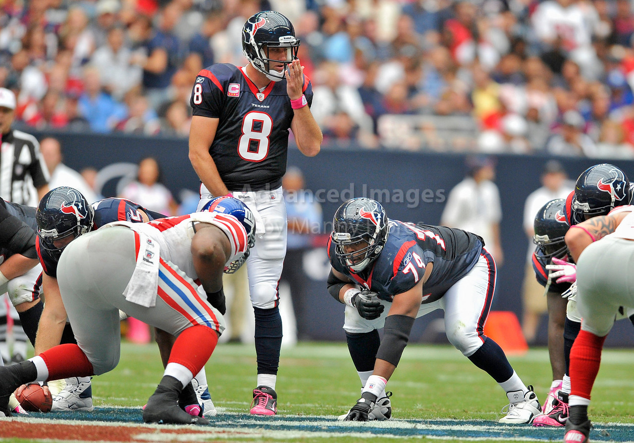 10 Oct 2010:  <br /> Houston Texans quarterback Matt Schaub #8 appears to have bad breath as Houston Texans offensive tackle Wade Smith #74 prepares to battle in a game between the New York Giants and the Houston Texans at Reliant Stadium in Houston Texas.<br /> Giants win 34-10