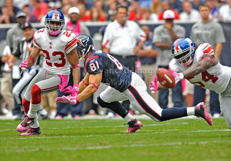Oct 10 2010:  <br /> New York Giants cornerback Corey Webster #23 defends Houston Texans tight end Owen Daniels #81in a game between New York Giants and the Houston Texans at Reliant Stadium in Houston, Texas.<br /> New York Giants win 34-10.<br /> (Credit Image: © Manny Flores/Cal Sport Media)