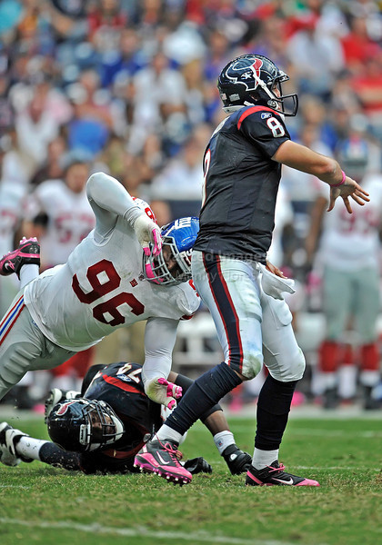 Oct 10 2010:  <br /> Houston Texans quarterback Matt Schaub #8 in action<br /> in a game between New York Giants and the Houston Texans at Reliant Stadium in Houston, Texas.<br /> New York Giants win 34-10.<br /> (Credit Image: © Manny Flores/Cal Sport Media)