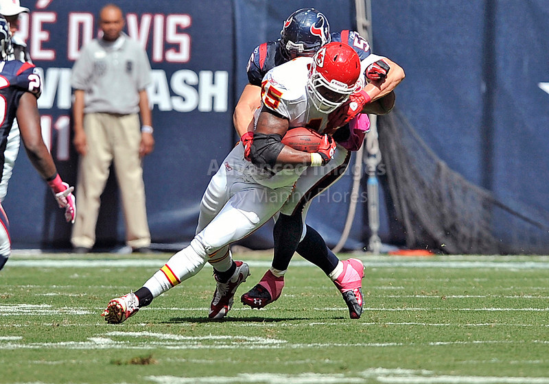 17 Oct 2010:  <br /> Kansas City Chiefs tight end Leonard Pope #45 catches the ball<br /> in a game between the Kansas City Chiefs and the Houston Texans at Reliant Stadium in Houston, Texas.<br /> Houston wins 35-31