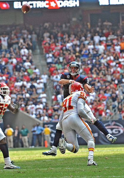 17 Oct 2010:  <br /> Houston Texans quarterback Matt Schaub #8 passes the ball for the winning touchdown with less than a minute to play n a game between the Kansas City Chiefs and the Houston Texans at Reliant Stadium in Houston, Texas.<br /> Houston wins 35-31