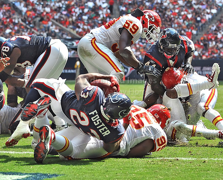 17 Oct 2010:  <br /> Houston Texans running back Arian Foster #23 carries the ball for a touchdown in a game between the Kansas City Chiefs and the Houston Texans at Reliant Stadium in Houston, Texas.<br /> Houston wins 35-31