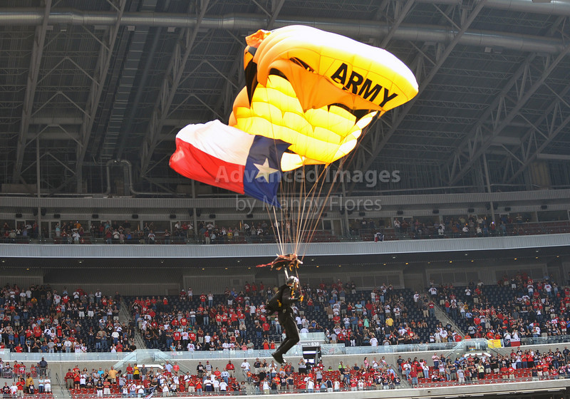 17 Oct 2010:  <br /> Pregame show performed by the Army Golden Knights<br /> in a game between the Kansas City Chiefs and the Houston Texans at Reliant Stadium in Houston, Texas.<br /> Houston wins 35-31