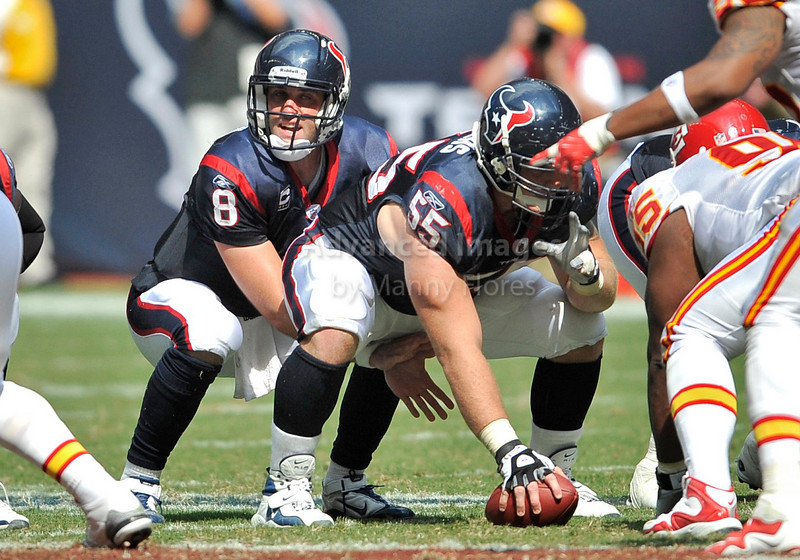 Oct 17 2010:  <br /> Houston Texans quarterback Matt Schaub #8 gets the ball from Houston Texans center Chris Myers #55<br /> in a game between Kansas City Chiefs and the Houston Texans at Reliant Stadium in Houston, Texas.<br /> Houston wins 35-31<br /> (Credit Image: © Manny Flores/Cal Sport Media)