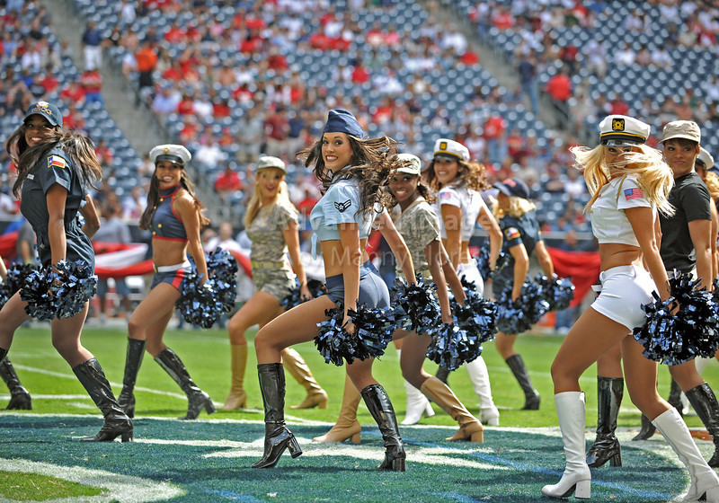 17 Oct 2010:  <br /> Houston Texans Cheerleaders perform in military style<br /> in a game between the Kansas City Chiefs and the Houston Texans at Reliant Stadium in Houston, Texas.<br /> Houston wins 35-31