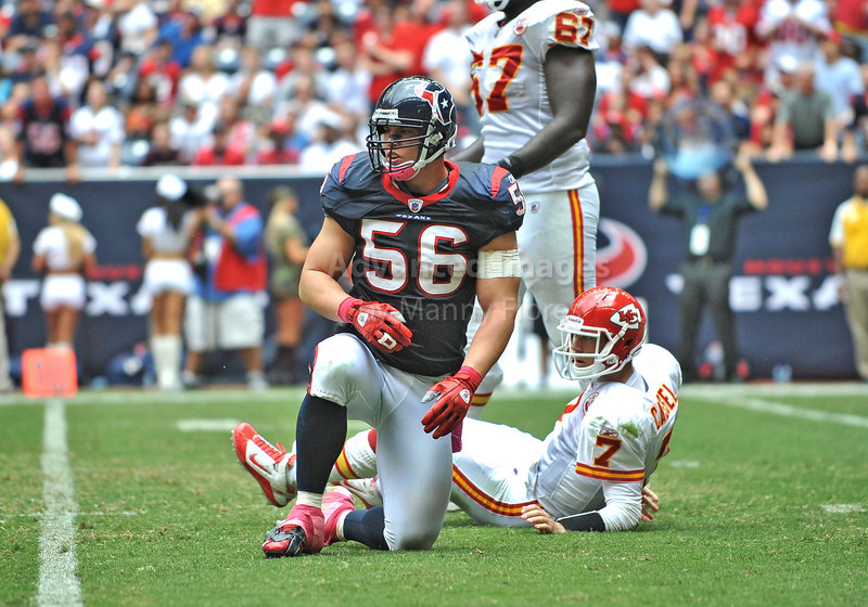 17 Oct 2010:  <br /> Kansas City Chiefs quarterback Matt Cassel #7 is hit by Houston Texans linebacker Brian Cushing #56 as he throws the ball<br /> in a game between the Kansas City Chiefs and the Houston Texans at Reliant Stadium in Houston, Texas.<br /> Houston wins 35-31