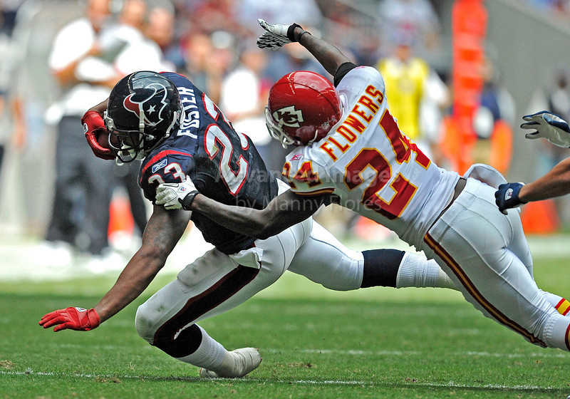 Oct 17 2010:  <br /> Houston Texans running back Arian Foster #23 carries the ball and is tackled by Kansas City Chiefs cornerback Brandon Flowers #24<br /> in a game between Kansas City Chiefs and the Houston Texans at Reliant Stadium in Houston, Texas.<br /> Houston wins 35-31<br /> (Credit Image: © Manny Flores/Cal Sport Media)