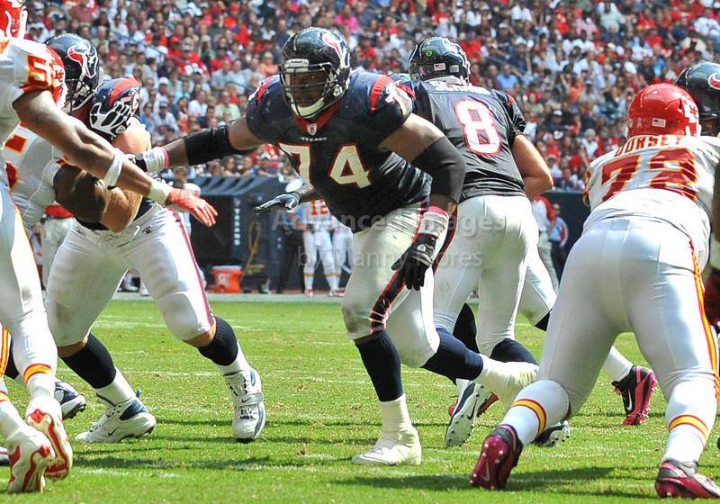 Oct 17 2010:  <br /> Houston Texans offensive tackle Wade Smith #74 in action<br /> in a game between Kansas City Chiefs and the Houston Texans at Reliant Stadium in Houston, Texas.<br /> Houston wins 35-31<br /> (Credit Image: © Manny Flores/Cal Sport Media)