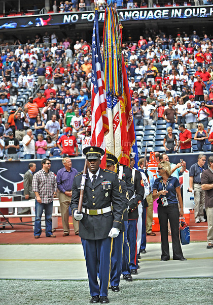 Oct 17 2010:  <br /> Texas National Guard honor the National Anthem <br /> in a game between Kansas City Chiefs and the Houston Texans at Reliant Stadium in Houston, Texas.<br /> Houston wins 35-31<br /> (Credit Image: © Manny Flores/Cal Sport Media)
