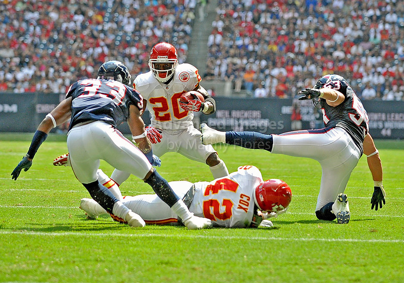 17 Oct 2010:  <br /> Kansas City Chiefs running back Thomas Jones #20 carries the ball<br /> in a game between the Kansas City Chiefs and the Houston Texans at Reliant Stadium in Houston, Texas.<br /> Houston wins 35-31
