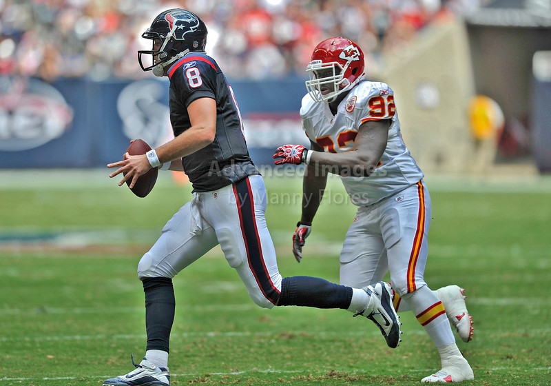 Oct 17 2010:  <br /> Houston Texans quarterback Matt Schaub #8 rolls out as Kansas City Chiefs defensive end Wallace Gilberry #92 chases him down<br /> in a game between Kansas City Chiefs and the Houston Texans at Reliant Stadium in Houston, Texas.<br /> Houston wins 35-31<br /> (Credit Image: © Manny Flores/Cal Sport Media)