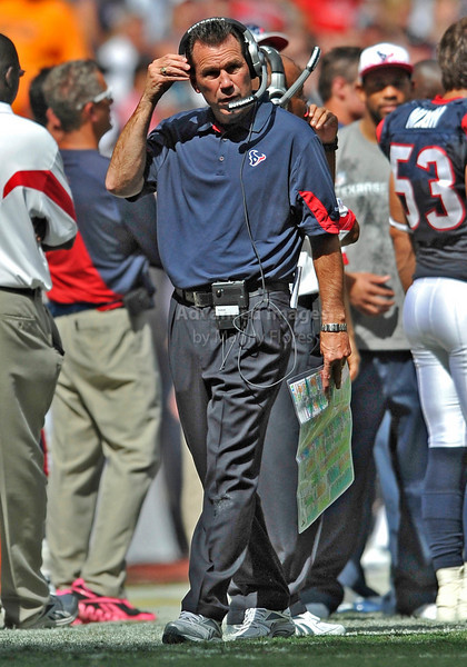 17 Oct 2010:  <br /> Houston Texans head coah Gary Kubiak in action<br /> in a game between the Kansas City Chiefs and the Houston Texans at Reliant Stadium in Houston, Texas.<br /> Houston wins 35-31