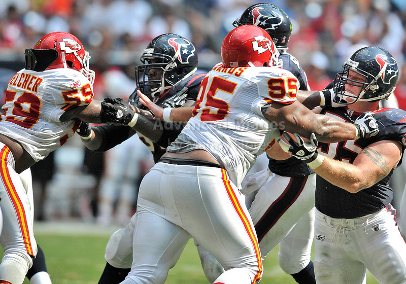 Oct 17 2010:  <br /> Houston Texans center Chris Myers #55 tries to block against Kansas City Chiefs defensive tackle Ron Edwards #95 and Kansas City Chiefs linebacker Jovan Belcher #59 in a game between Kansas City Chiefs and the Houston Texans at Reliant Stadium in Houston, Texas.<br /> Houston wins 35-31<br /> (Credit Image: © Manny Flores/Cal Sport Media)