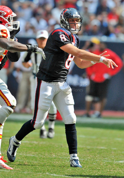 Oct 17 2010:  <br /> Houston Texans quarterback Matt Schaub #8 rolls out<br /> and passes the ball in a game between Kansas City Chiefs and the Houston Texans at Reliant Stadium in Houston, Texas.<br /> Houston wins 35-31<br /> (Credit Image: © Manny Flores/Cal Sport Media)