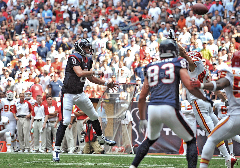 17 Oct 2010:  <br /> Houston Texans quarterback Matt Schaub #8 passes the ball for a touchdown in a game between the Kansas City Chiefs and the Houston Texans at Reliant Stadium in Houston, Texas.<br /> Houston wins 35-31