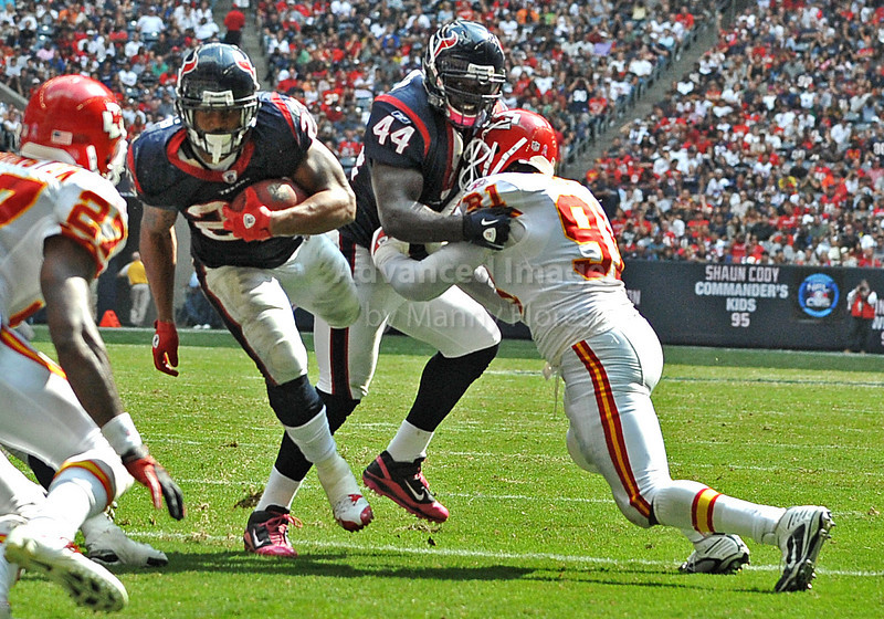 Oct 17 2010:  <br /> Houston Texans running back Arian Foster #23 carries the ball for a touchdown as Houston Texans fullback Vonta Leach #44 blocks<br /> in a game between Kansas City Chiefs and the Houston Texans at Reliant Stadium in Houston, Texas.<br /> Houston wins 35-31<br /> (Credit Image: © Manny Flores/Cal Sport Media)